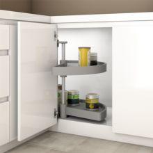 Emuca juego bandejas giratorias mueble de cocina, 180º, módulo 900 mm, Plástico, Gris - Ítem4
