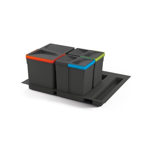 Juego de contenedores con base Recycle para cajón de módulo 600 mm Emuca 12 L, 6 L, 6L