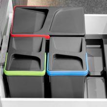 Emuca Contenedores de reciclaje, 15 L + 7L + 7 L, módulo 600 mm, Plástico, Gris antracita, 3 ud. + Base - Ítem3