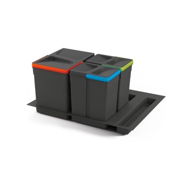 Emuca Contenedores de reciclaje, 15 L + 7L + 7 L, módulo 600 mm, Plástico, Gris antracita, 3 ud. + Base