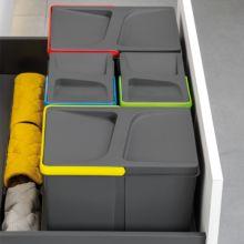 Emuca Contenedores de reciclaje, 15 L + 15 L + 7L + 7 L, módulo 900 mm, Plástico, Gris antracita, 4 ud. + Base - Ítem3
