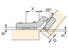 Bisagra C95 brazo de 45° Ø35 - Ítem2