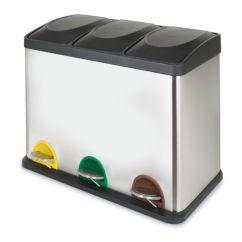 Cubo de reciclaje triple con pedal cromado