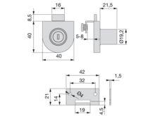 Cerradura de bombillo para una puerta de cristal - Ítem1