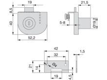 Cerradura de bombillo para dos puertas de cristal - Ítem1
