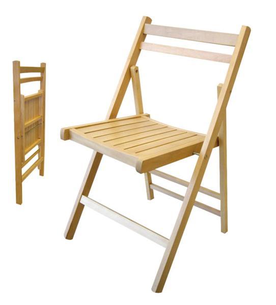 Silla plegable de madera barnizada for Silla escalera de madera plegable