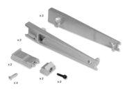 Tram soporte para estante de aluminio con cristal
