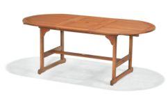 Conjunto mesa ovalada extensible y 4 sillones con brazos Nature