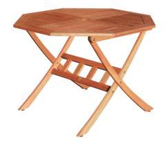 Conjunto mesa octogonal y 4 sillones con brazos Nature
