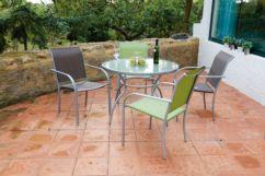 Conjunto mesa de acero ø 100 cm y 4 sillas acero/textilene Brasil
