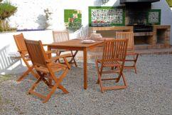 Conjunto mesa rectangular 2 sillas sin brazos y 3 sillas con brazos Nature
