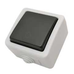Pulsador timbre jardín color gris Duolec