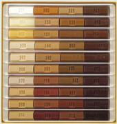 Caja 10 ceras blandas 8cm. Colores madera