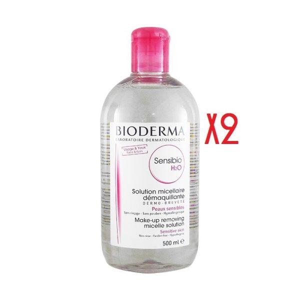 BIODERMA SENSIBIO H2O MICELAR 500ML X 2 UNIDADES