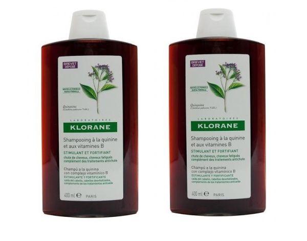 Klorane Quinina champú anticaída 400ml oferta 2 unidades
