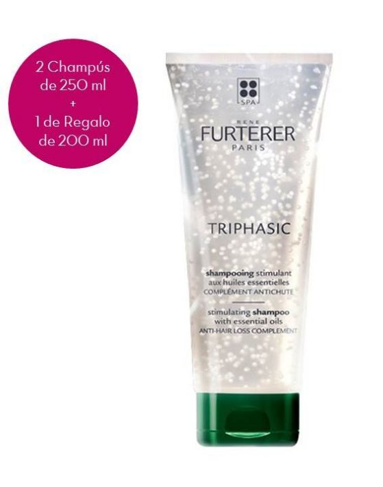 RENE FURTERER CHAMPÚ TRIPHASIC 250 ML x 2 + 1 DE REGALO 200 ML