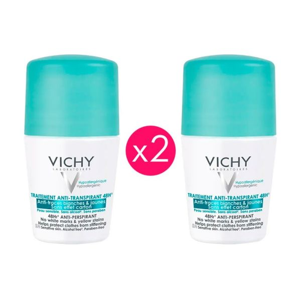 VICHY DESODORANTE ANTI MANCHAS ROLL-ON 50ML X2 UNIDADES