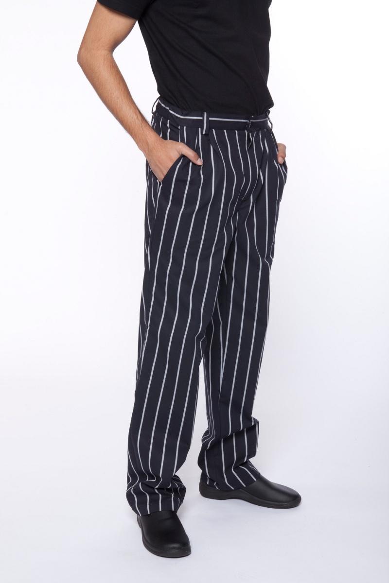 El pantal n de cocina artel en negro con rayas blancas nuevo en mas uniformes - Pantalones de cocina ...