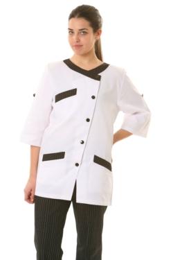 Blusón artel blanco regulable co adornos rayados
