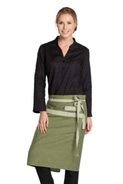 Delantal de tejido fino en verde con constraste verde claro y bolsillo central