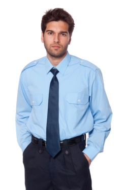Camisa Artel d' uniforme blau cel amb butxaques