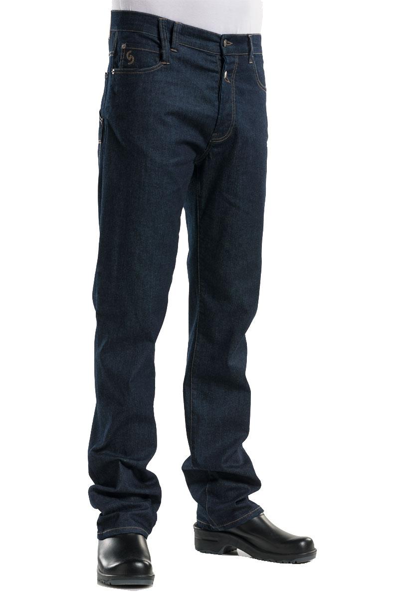 af74d2efd0b46 pantalon denim elastico de hombre con pasadores para cinturon