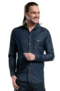 Camisa Denim elàstica per a home Chaud Devant amb butxaques