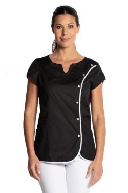 bluson entallado negro manga corta dyneke 8671 con vivo blanco