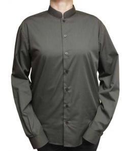 Camisa de hombre manga larga en cuello mao color chocolate