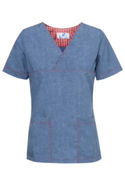 Casaca de uniforme sanitario en tejano de manga corta y bolsillos