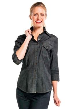 Camisa laboral de dona Denim en color negre amb pinces a l'esquena i màniga tres quarts