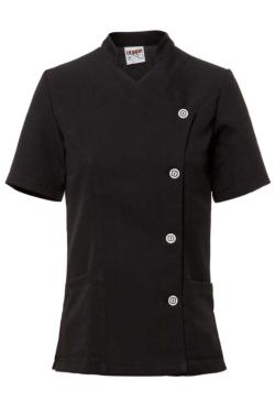 blusó per estètica o manteniment creuat amb originals botons en color blanc i negre