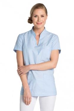 Blusó Dyneke blanc de coll mao amb tres butxaques, de teixit molt fresc i còmode
