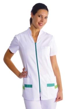 blusó elegant de coll mao blanc amb cremallera i molt còmode en tenir talls laterals