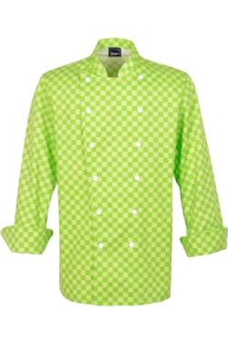 Chaqueta de Cocina de Sager con Cuadros verdes, Cierres y Cuello Tipo Mao