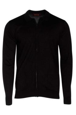Jaqueta de treball de punt negre d'home amb cremallera i butxaques