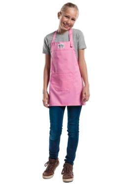 Divertit davantal rosa de nena ajustable amb tancaments i amb butxaca