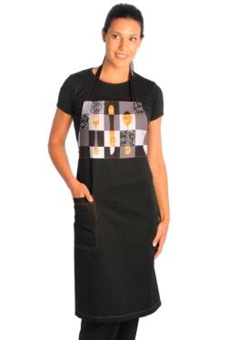 Delantal Dyneke adorno estampado cubiertos con peto negro