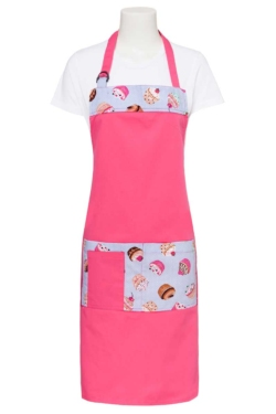 Delantal rosa con estampado cupcakes y bolsillo