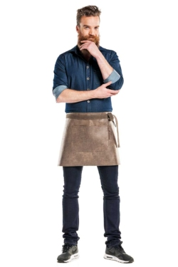 Delantal de piel Barrel Brown sin peto con bolsillo