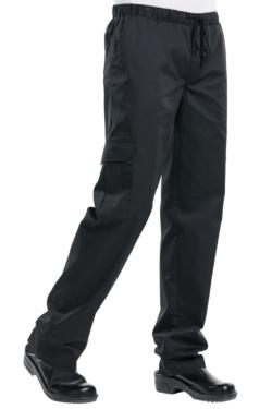 pantalon de cocinero negro baggy en mas uniformes