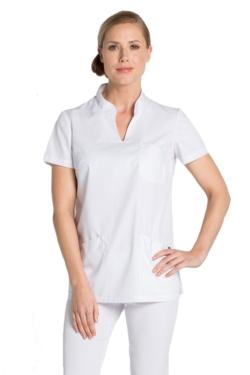 Blusón sanitario blanco con aperturas laterales para mayor comodidad