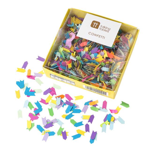 Confeti papel formas de flechas de colores
