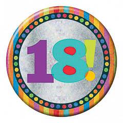 Pin chapa 18 años holográfica 15 cm de diámetro