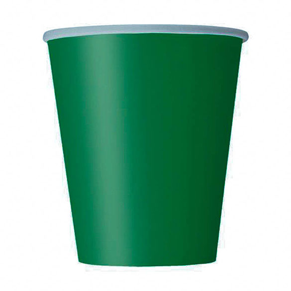 Vasos Verde cartón encerado 266 ml, Pack 8 u.