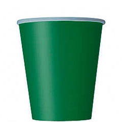 Vasos Verde cartón encerado 266 ml, Pack 8 u.