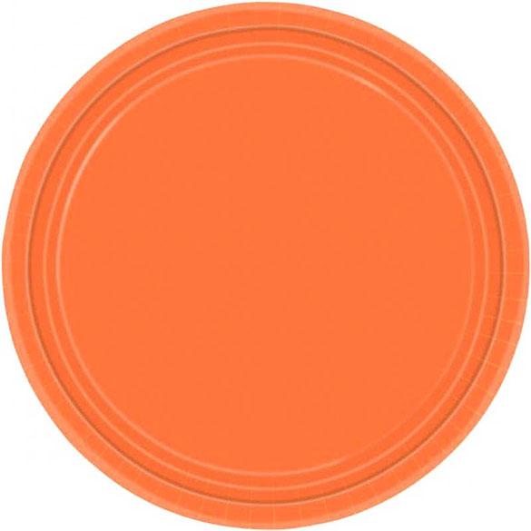 Platos Naranja lisos 17,80 cm, Pack 8 u.
