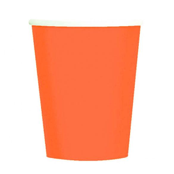 Vasos Naranja cartón encerado 266 ml, Pack 8 u.