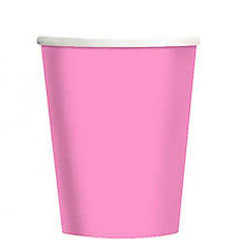 Vasos Rosa cartón encerado 266 ml, Pack 8 u.