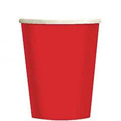 Vasos Rojos cartón encerado 266 ml, Pack 8 u.